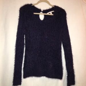 LC Lauren Conrad purple fuzzy sweater